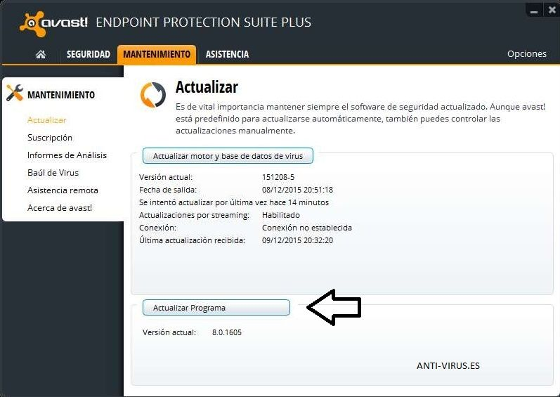 Actualizar Avast Endpoint